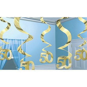 Gold Anniversary Streaming Swirls - 24 Inches / 61cm - Pack of 5 Product Image