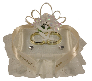Gold Double Ring Cushion Cake Topper