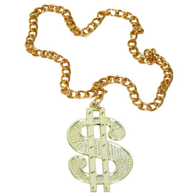 Gold Large Dollar Sign Medallion with Chain