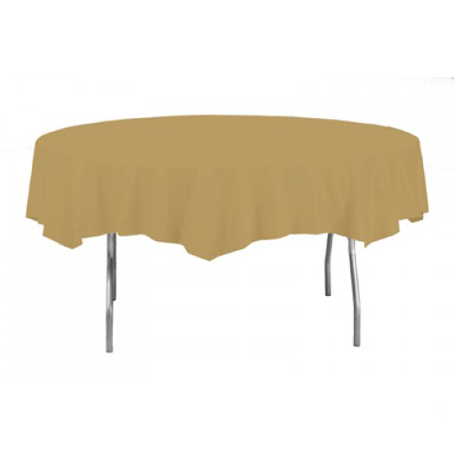 Gold Round Plastic Tablecover 213cm