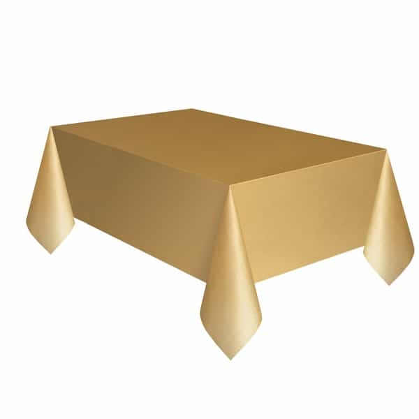 Gold Plastic Tablecover 274cm x 137cm