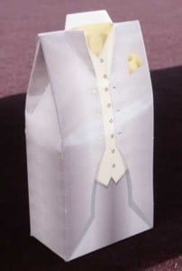 Grey Tuxedo Box with Yellow Handkerchief Product Gallery Image