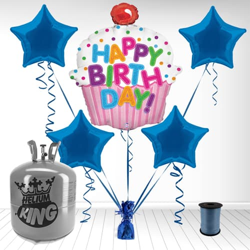 Boy's 'Happy Birthday' Cupcake Foil Balloon and Helium Gas Package Product Image