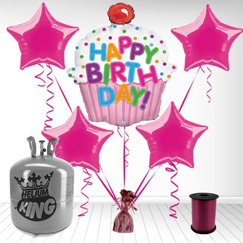 Girl's 'Happy Birthday' Cupcake Foil Balloon and Helium Gas Package Product Image