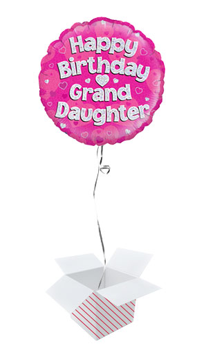 Happy Birthday Granddaughter Pink Holographic Round Foil Helium Balloon - Inflated Balloon in a Box Product Image