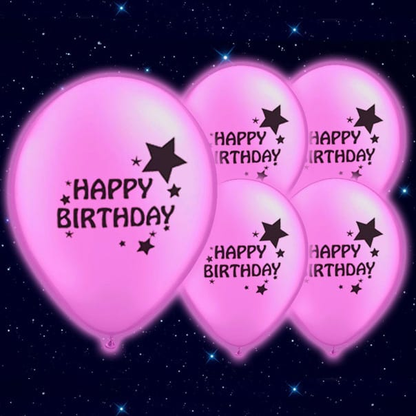 Happy Birthday Print Pink Illoom Balloons - 9 Inches / 23cm - Pack of 5