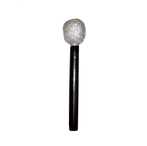 Hollywood Theme Silver Glitter Microphone - 10 Inches / 26cm