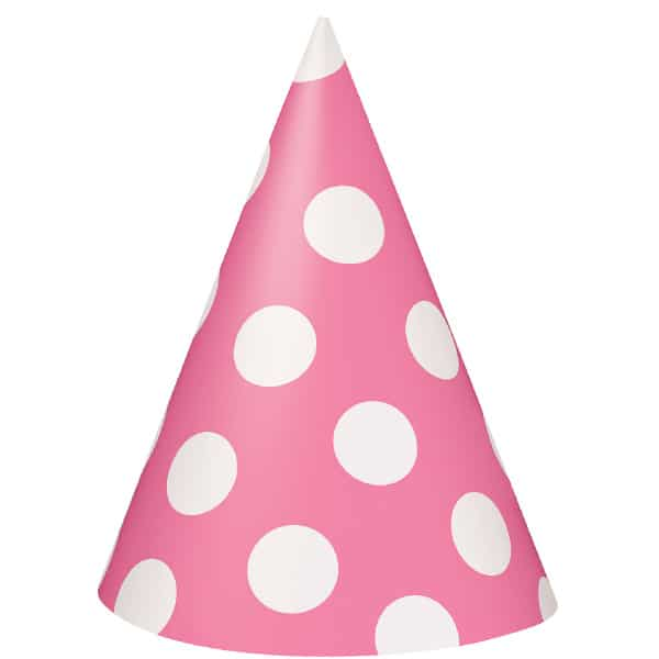 Hot Pink Decorative Dots Cone Party Hat Product Image