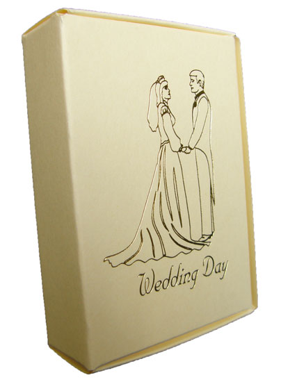 Ivory Cake Boxes with Bride and Groom Wedding Day Print in Gold - Pack of 10