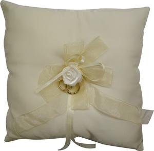Ivory Square Wedding Ring Cushion with Rose Product Image