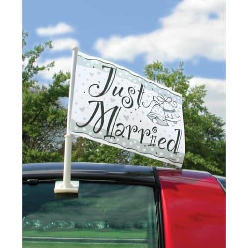 Just Married Car Flag - 18 x 15 Inches / 46 x 38cm