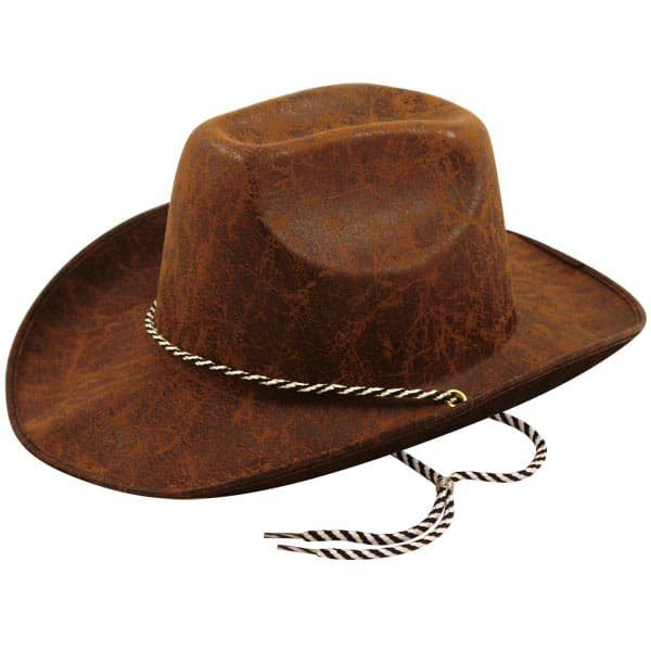 Leather Look Brown Felt Adults Cowboy Hat
