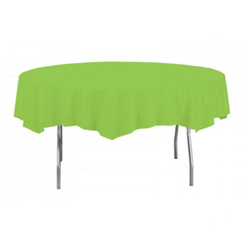 Lime Green Round Plastic Tablecover 213cm