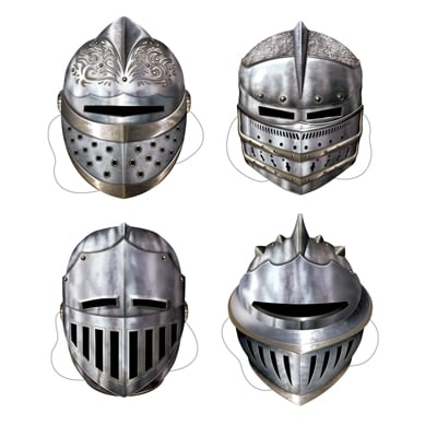 Medieval Knight Cardboard Masks 12 Inch - Pack of 4
