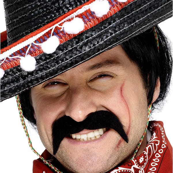 Black Mexican Bandit Fancy Dress Moustache Product Image