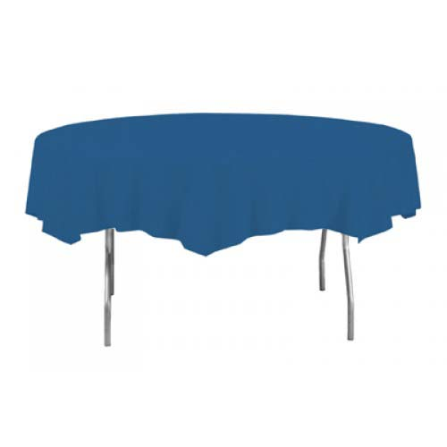 Royal Blue Round Plastic Tablecover 213cm Product Image