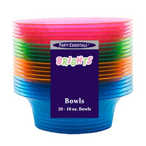 Neon Assorted Colour Plastic Bowl - 10oz / 284ml