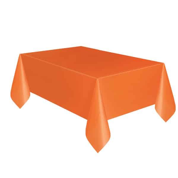 Orange Plastic Tablecover 274cm x 137cm