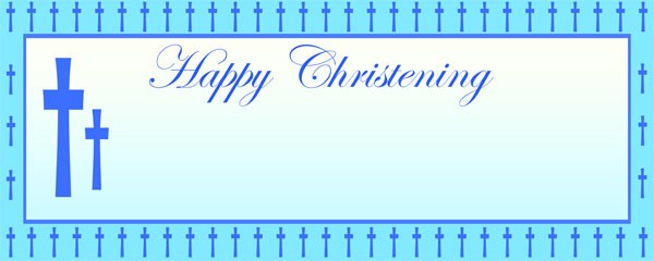 Happy Christening Blue Cross Small Personalised Banner - 4ft x 2ft