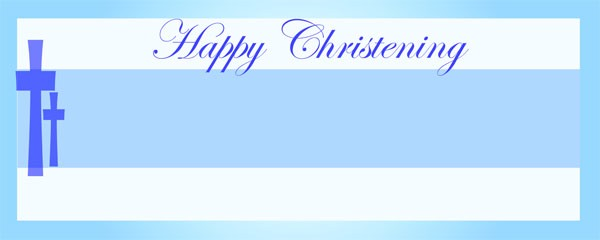 Happy Christening Blue and White Cross Small Personalised Banner - 4ft x 2ft