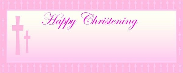 Happy Christening Pink Cross Small Personalised Banner - 4ft x 2ft