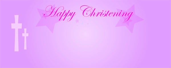 Happy Christening Pink Star Small Personalised Banner - 4ft x 2ft