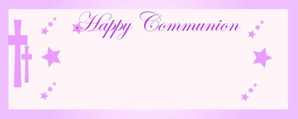 Happy Communion Pink Star Small Personalised Banner - 4ft x 2ft