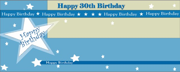 Happy 30th Birthday Shimmer Small Personalised Banner- 4ft x 2ft