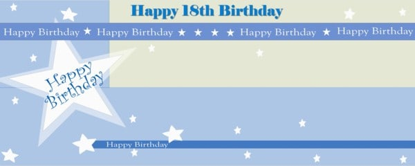 Happy 18th Birthday Shimmer Small Personalised Banner- 4ft x 2ft