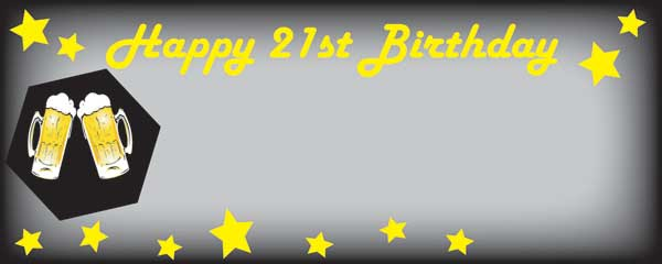 Happy 21st Black and Yellow Beer and Stars Small Personalised Banner- 4ft x 2ft