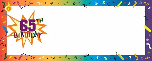 Happy 65th Birthday Confetti Small Personalised Banner - 4ft x 2ft
