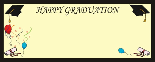 Happy Graduation Ivory Mortar Board, Scroll and Balloons Medium Personalised Banner - 6ft x 2.25ft