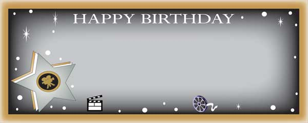 Happy Birthday Gold Edge Film Reel Clapperboard and Star Small Personalised Banner- 4ft x 2ft