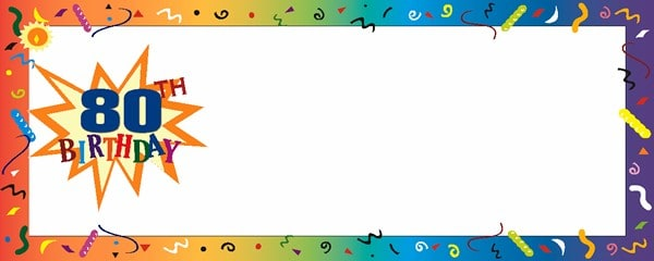 Happy 80th Birthday Confetti Small Personalised Banner- 4ft x 2ft
