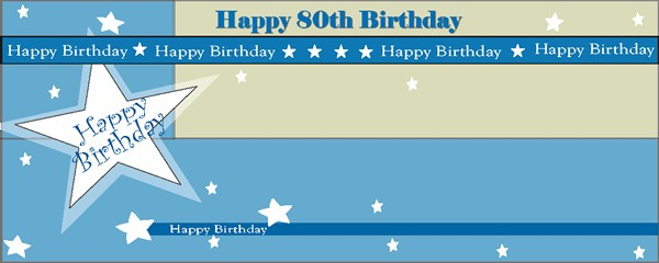 Happy 80th Birthday Shimmer Small Personalised Banner- 4ft x 2ft