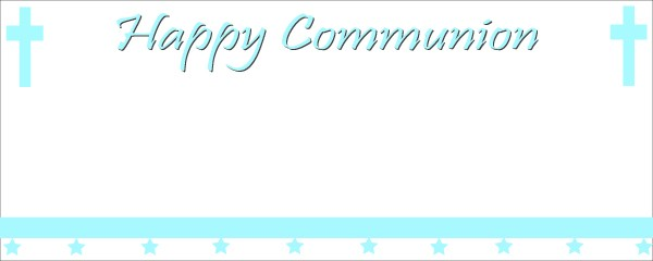 Happy Communion Blue Cross Sign and Stars Small Personalised Banner - 4ft x 2ft