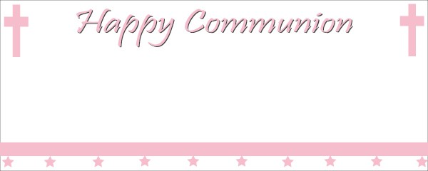 Happy Communion Pink Cross Sign and Stars Small Personalised Banner - 4ft x 2ft