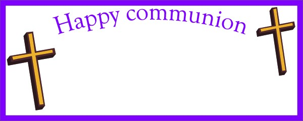 Happy Communion Purple Border and Cross Sign Small Personalised Banner - 4ft x 2ft