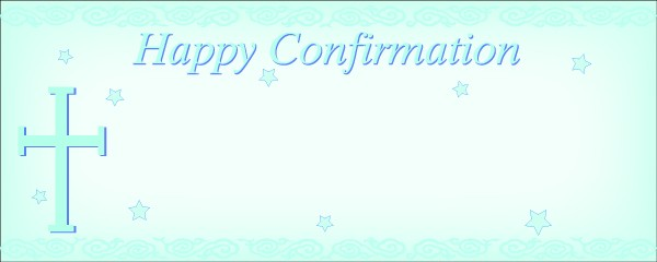 Happy Confirmation With Blue Stars and Cross Small Personalised Banner - 4ft x 2ft