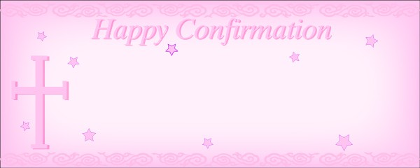 Happy Confirmation With Pink Stars and Cross Small Personalised Banner - 4ft x 2ft