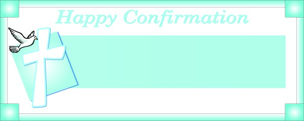 Happy Confirmation Blue Frame With Cross and Bird Large Personalised Banner - 10ft x 4ft