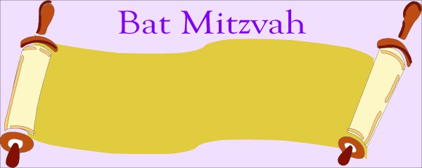 Jewish Bat Mitzvah Scroll Lilac Background Small Personalised Banner - 4ft x 2ft