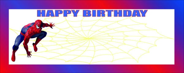 Happy Birthday Spiderman Small Personalised Banner Personalised Banner - 4ft x 2ft