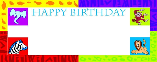 Happy Birthday Jungle Party Small Personalised Banner - 4ft x 2ft