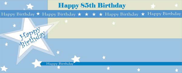 Happy 85th Birthday Shimmer Design Small Personalised Banner- 4ft x 2ft