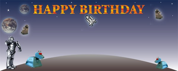 Dr. Who Birthday on the Moon Party Small Personalised Banner- 4ft x 2ft