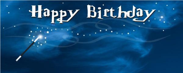 Harry Potter Happy Birthday Magic Wand Medium Personalised Banner - 6ft x 2.25ft