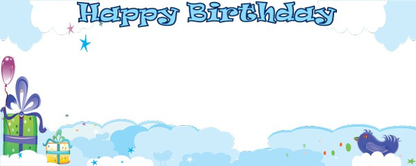 Birthday in the Clouds Design Large Personalised Banner - 10ft x 4ft