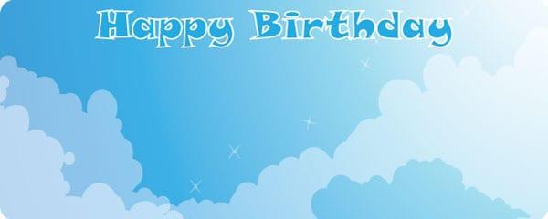 Happy Birthday Blue Sky Design Medium Personalised Banner - 6ft x 2.25ft