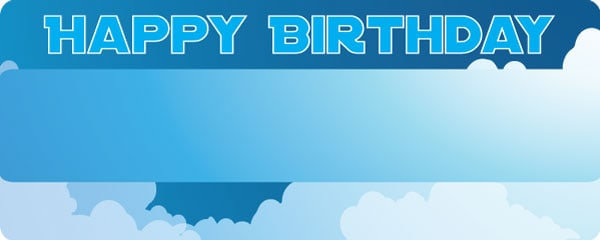 Happy Birthday In The Clouds Design Medium Personalised Banner Design - 6ft x 2.25ft